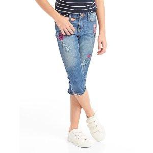 Stretch logo patch straight crop jeans