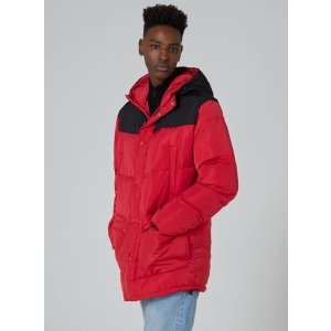 Red Cut And Sew Puffer Jacket - Coats & Jackets - Clothing - TOPMAN USA