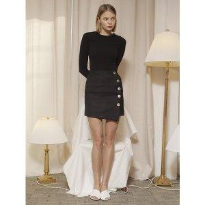 YUPPE button wrap skirt_black