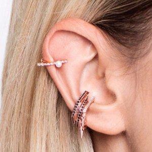 玫瑰金珍珠耳夹