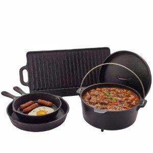$39.99 For 5 PieceOutdoor Gourmet 5-Piece Cast-Iron Cookware Set