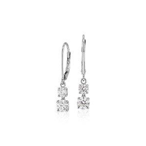 Double Diamond Drop Earrings in 14k White Gold (1 ct. tw.) | Blue Nile