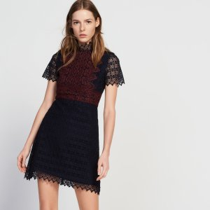 Dress in contrasting lace and lurex