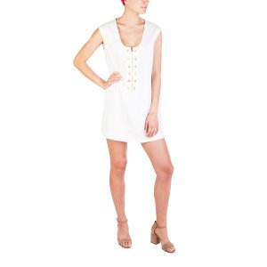 Women's Cotton Perforated Pattern Dress White | Bluefly.Com