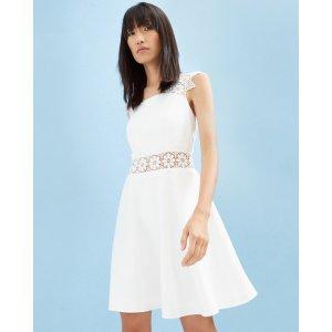 Lace detail textured dress