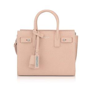 Saint Laurent Classic Pale Pink Grained Leather Nano Sac De Jour