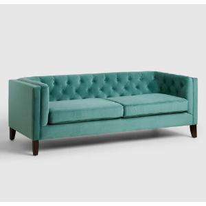 Teal Velvet Kendall Sofa | World Market