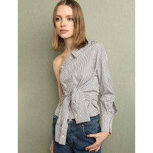 Striped One Shoulder Sleeve Tie Button Shirt