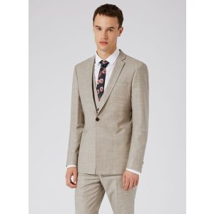 Stone Crosshatch Wool Skinny Fit Three Piece Suit