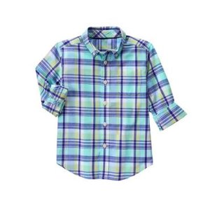 Boys Robin's Egg Plaid Plaid Shirt by Gymboree