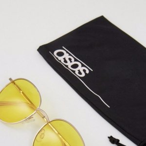ASOS 90S Round Sunglasses With Yellow Colored Lens