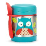 Skip Hop Baby Zoo Little Kid and Toddler Insulated Food Jar and Spork Set, Multi, Otis Owl