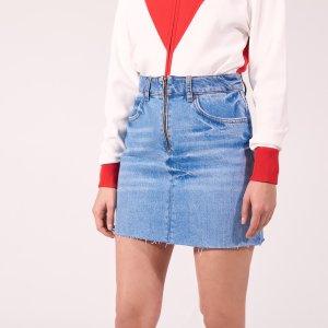 Light-Coloured Denim Skirt With Zip - Skirts - Sandro-paris.com