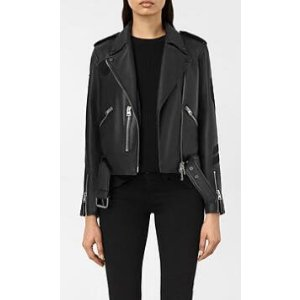 ALLSAINTS US: Womens Badge Balfern Leather Biker Jacket (Black)