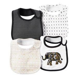 Baby Girl 4-Pack Little Traveler Teething Bibs Set   Carters.com