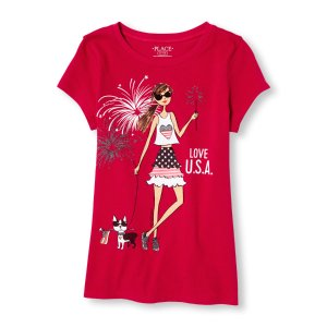 Girls Americana Short Sleeve Glitter 'Love U.S.A.' Fashionista Graphic Tee | The Children's Place