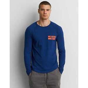 AEO Active Flex Long Sleeve T-Shirt, Blue | American Eagle Outfitters