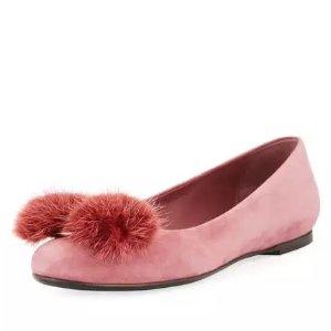 毛毛蝴蝶结平底鞋
