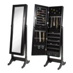 Black Mirrored Jewelry Armoire with Stand Mirror