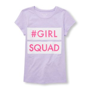 Girls Short Sleeve Glitter 'Girl Squad' Graphic Tee | The Children's Place