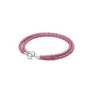 PANDORA Silver & Honeysuckle Pink Leather Wrap Bracelet