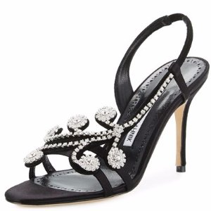 Manolo Blahnik Fernusan Crystal-Embellished Slingback Sandal, Black