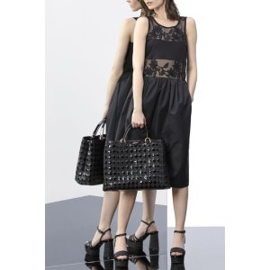Emporio Armani Women Cotton jersey dress with lace insert, Cotton - Armani.com