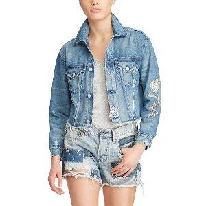 Patched Denim Boyfriend Jacket - Puffers & Vests � Coats & Jackets - RalphLauren.com