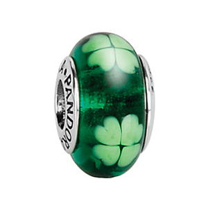 PANDORA Silver Murano Glass Kiss Me I'm Irish Charm