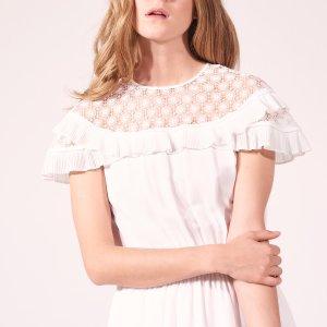Dress With Lace Collar And Ruffles - Dresses - Sandro-paris.com