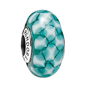 PANDORA Silver Murano Glass Teal Lattice Charm