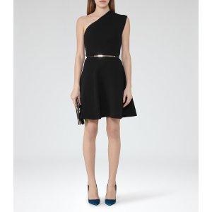 Keria Black One-Shoulder Dress - REISS