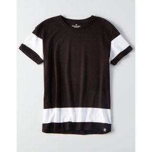 AEO Flex Colorblock T-Shirt, Black | American Eagle Outfitters