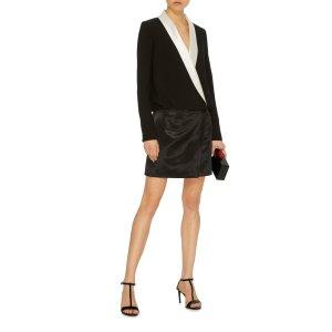 Contrast Satin Smoking Dress | Moda Operandi