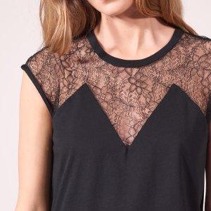 Cotton T-Shirt With Lace Insert - Tops & Shirts - Sandro-paris.com