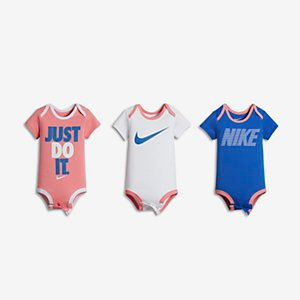 Nike Icons Three-Piece Infant Girls' Bodysuit Set .