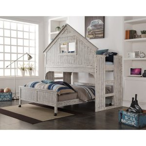 Donco Kids Brushed Driftwood Finish Club House Low Loft with Full-Size Caster Bed - Free Shipping Today - Overstock.com - 17983946