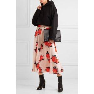 GANNI   Harness floral-print silk crepe de chine midi skirt