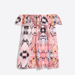 Ruffle printed off-the-shoulder top