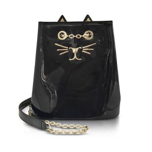 Charlotte Olympia Feline Black Patent Leather Bucket Bag at FORZIERI