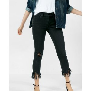 Black Mid Rise Frayed Stretch Cropped Jean Legging | Express