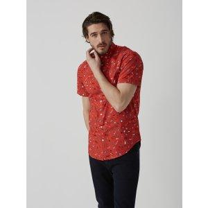 Summer Print Poplin-Cotton Shirt in Lava   Frank And Oak