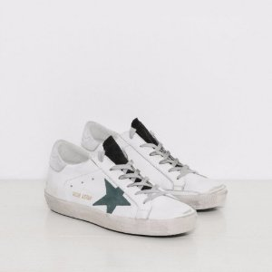Golden Goose Sneakers Superstar in White with Petroleum Star | The Dreslyn