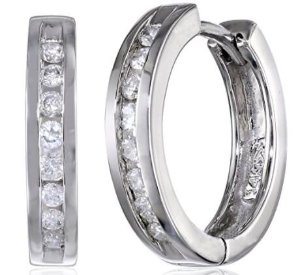 $229.9910k Gold Channel-Set Diamond Hoop Earrings (1/3 cttw, H-I Color, I2-I3 Clarity)