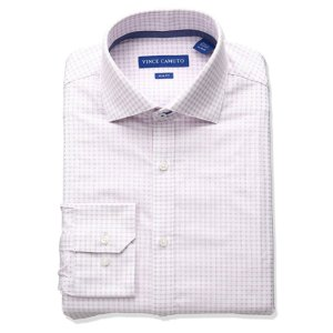 $9.93Vince Camuto Men's Slim Fit Stretch Dobby Dress Shirt with Comfort Collar