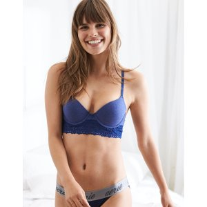 Bridget Demi Coverage Pushup Bra, Blue Heather | Aerie for American Eagle