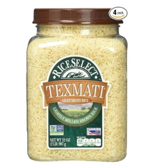 $6.14RiceSelect Texmati Light Brown Rice, Long Grain American Basmati, 32-Ounce Jars (Pack of 4)