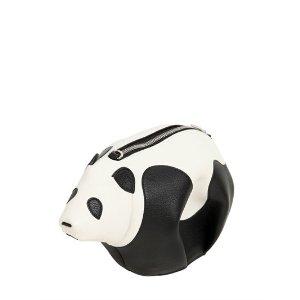 LOEWE - PANDA LEATHER SHOULDER BAG - SHOULDER BAGS - BLACK/WHITE - LUISAVIAROMA