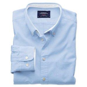 Slim fit sky blue plain washed Oxford shirt | Charles Tyrwhitt