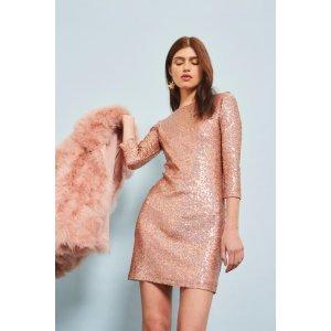Slash Neck Sequin Mini Dress - The Party Edit - Sale